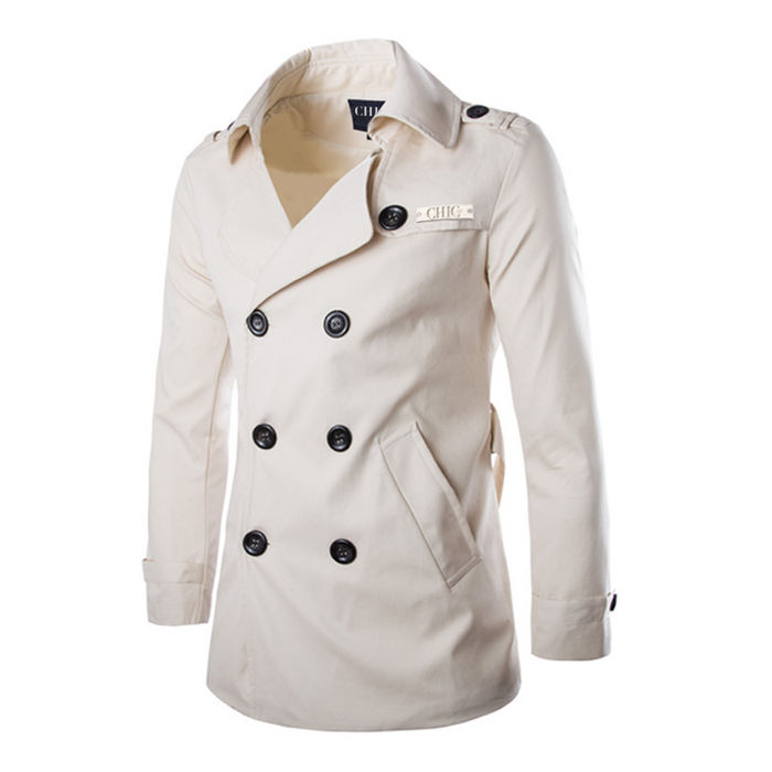 Mid Length Casual White Trench Coat