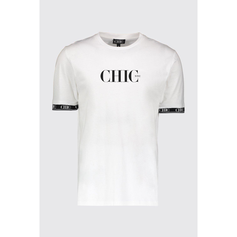 CHIC NYC T-Shirt With Tape on Sleeves - White