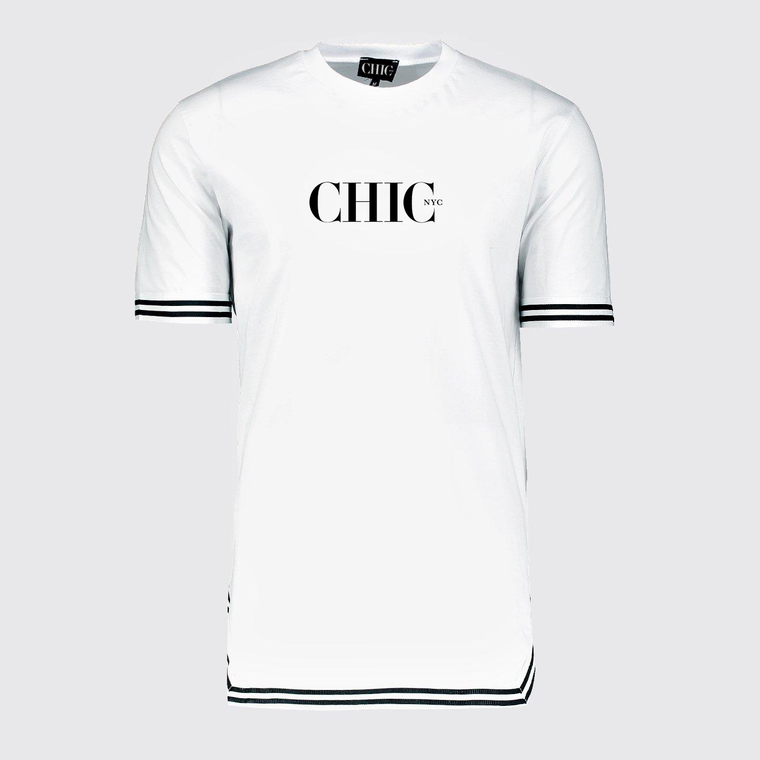 CHIC NYC Wall Street Style White T-Shirt with Tape Detail