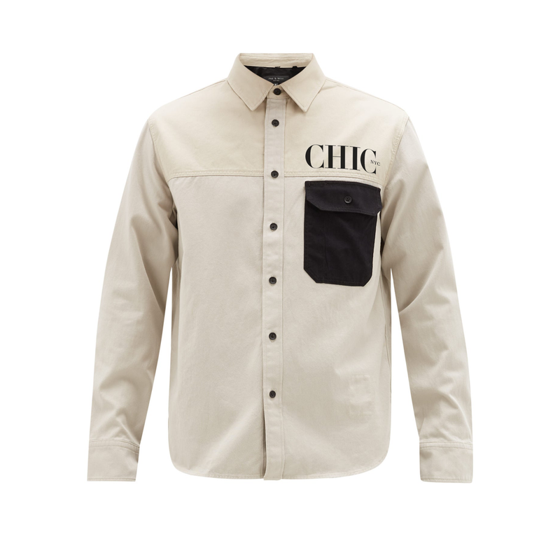 CHIC NYC Casual Beige Shirt with Black Pocket