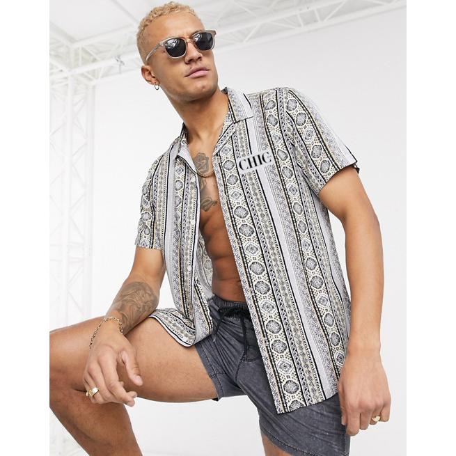 CHIC NYC MAN Fit Shirt in Gray Geo-Tribal Pattern
