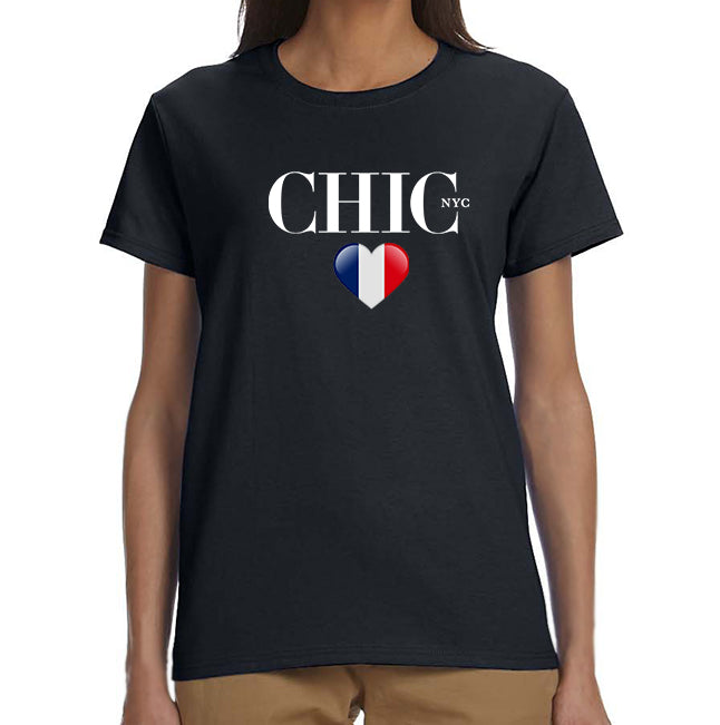 Show Love - CHIC NYC Tee Shirt - Black - France Flag Colors
