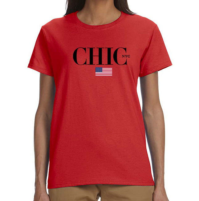 All American CHIC NYC Tee Shirt - Red