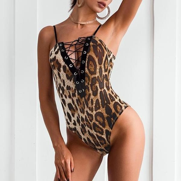Lace Up Leopard Body Suit