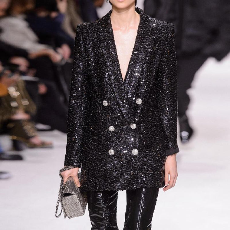 CHIC NYC Runway 2019 Designer Blazer Women's Double Breasted Shawl Collar Sequined Long Blazer