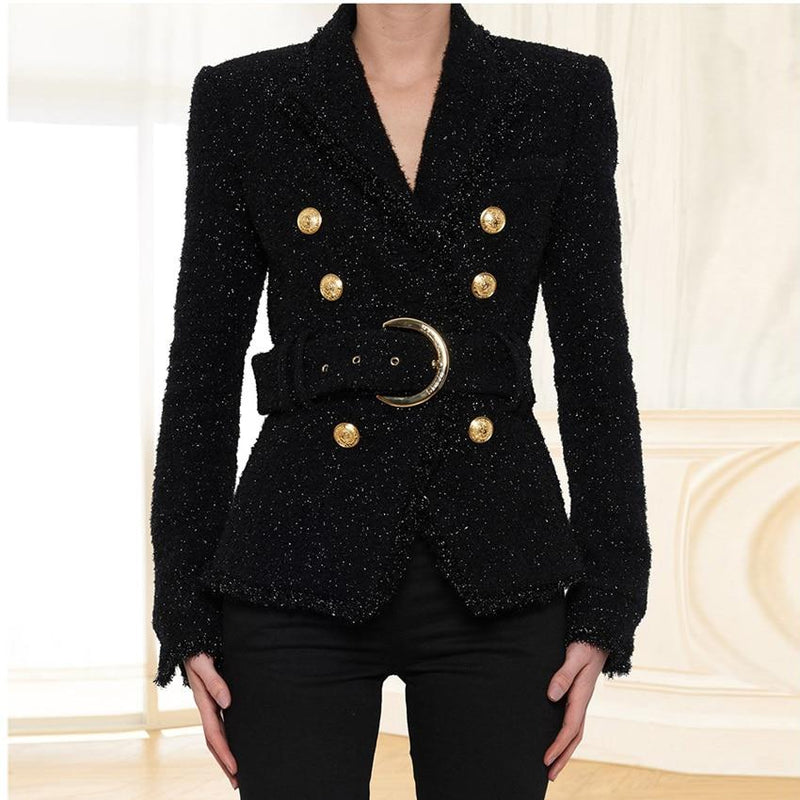 CHIC NYC Runway Designer Blazer Double Breasted Lacing Belt Sparkle Wool