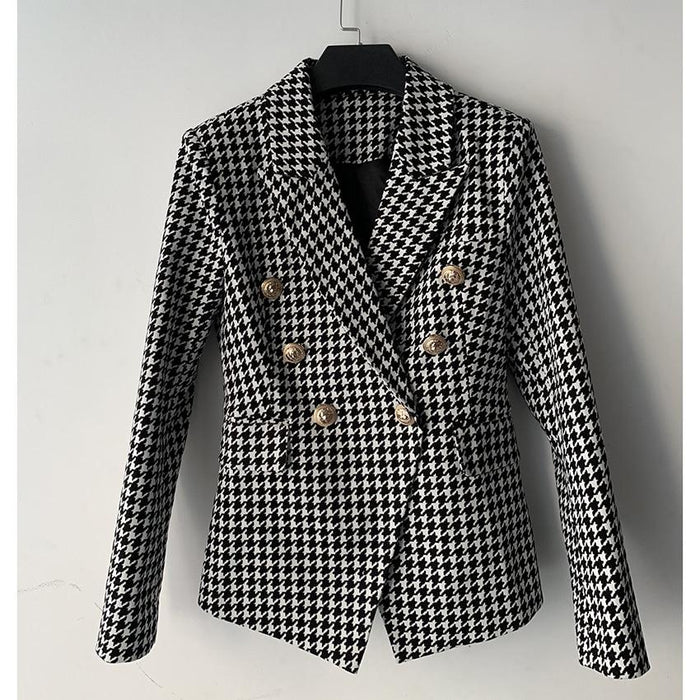 Chic Nyc Runway Double Breasted Lion Buttons Blazer Jacket