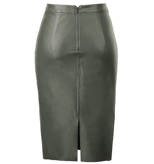 PU Leather Pencil Skirt