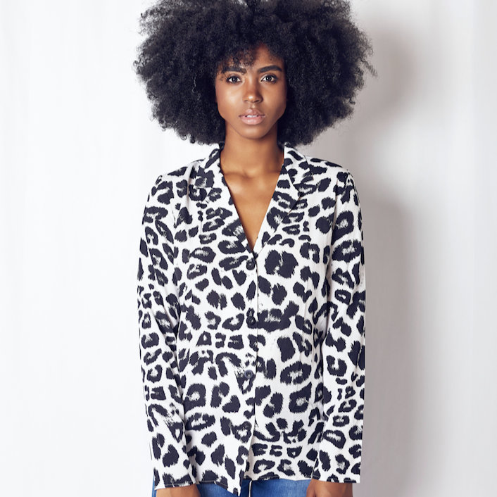 CHIC NYC Leopard V neck Blouse