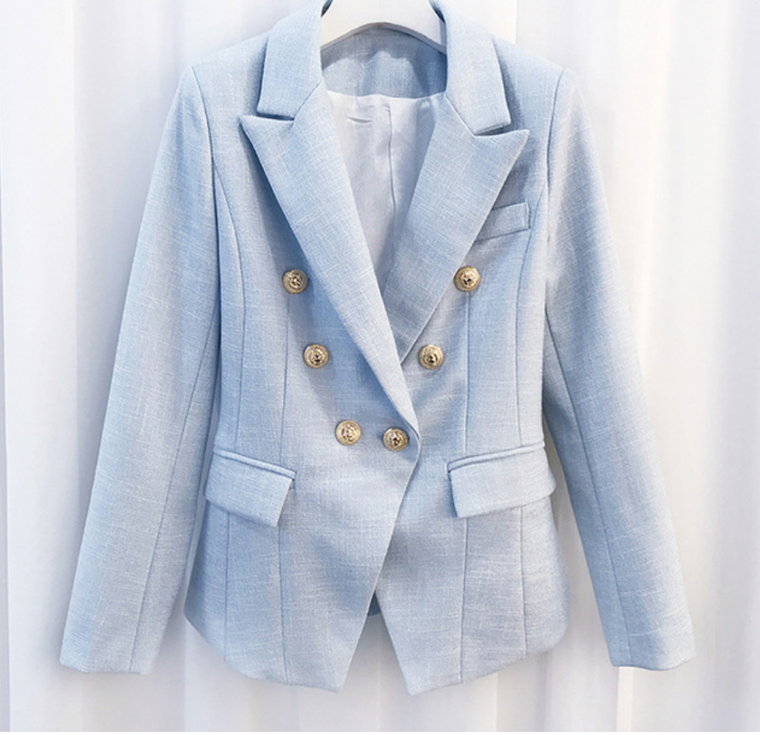 Soft Cotton Baby Blue Famous Blazer with Gold Buttons - Black and White Cotton Blend
