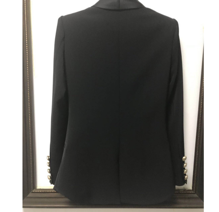 Wrap Around Famous Blazer with Gold Button and Satin Details - Black
