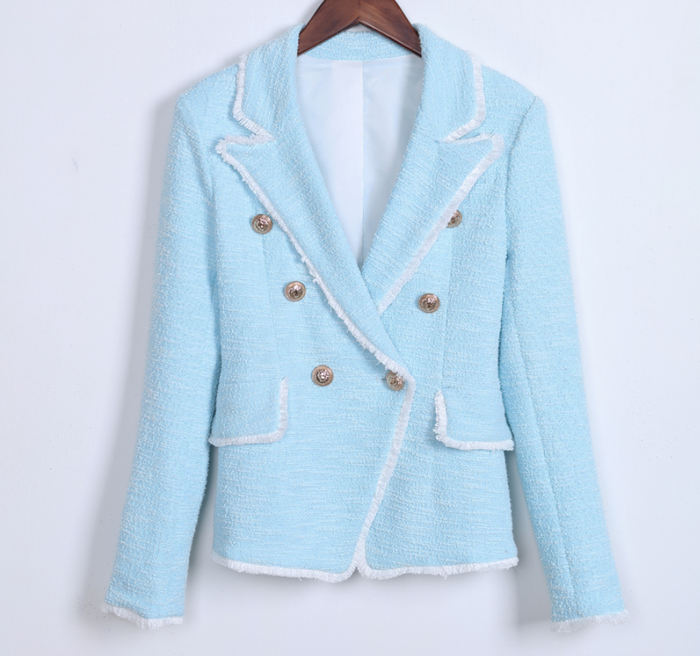 Blue Tweed Blazer with Gold Button Details - Famous Tweed Blazer