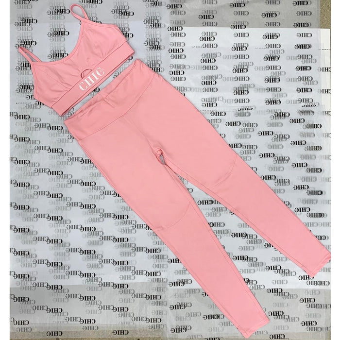 Labor Day Sale - Bubble Gum Pink 2 Piece Athletic Set - Official Chic NYC Logo