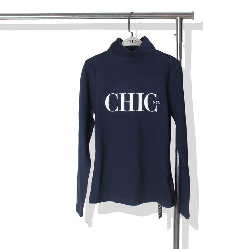 Chic NYC Turtle Neck - Navy Blue