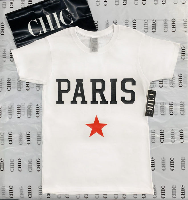 Labor Day Sale - Paris Custom Graphic Tee Shirt - White