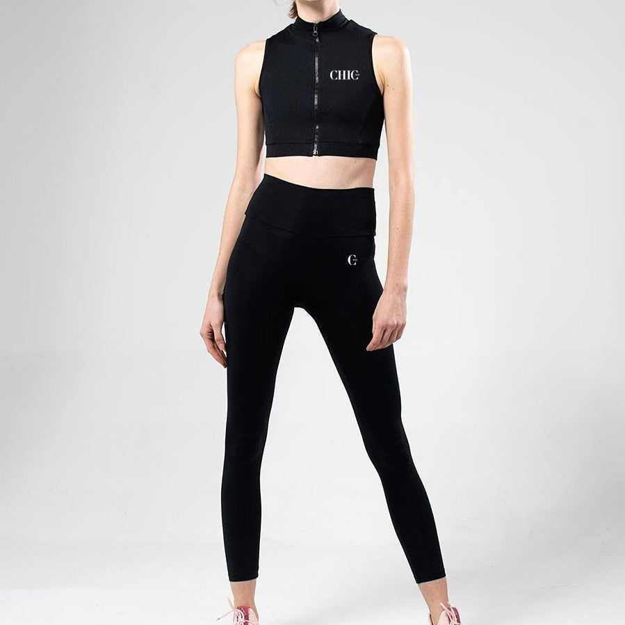 Black Zip Detail Activewear Set