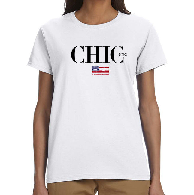 All American CHIC NYC Tee Shirt - White