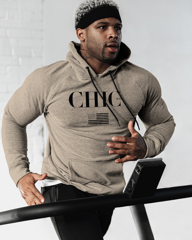 CHIC NYC MAN Fitness Hoodie with USA Flag - Beige