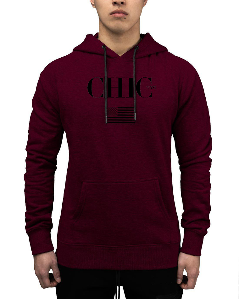 CHIC NYC MAN Fitness Hoodie with USA Flag - Red