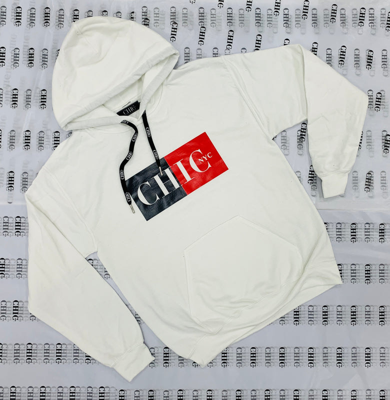 CHIC NYC MAN White Color Block Hoodie