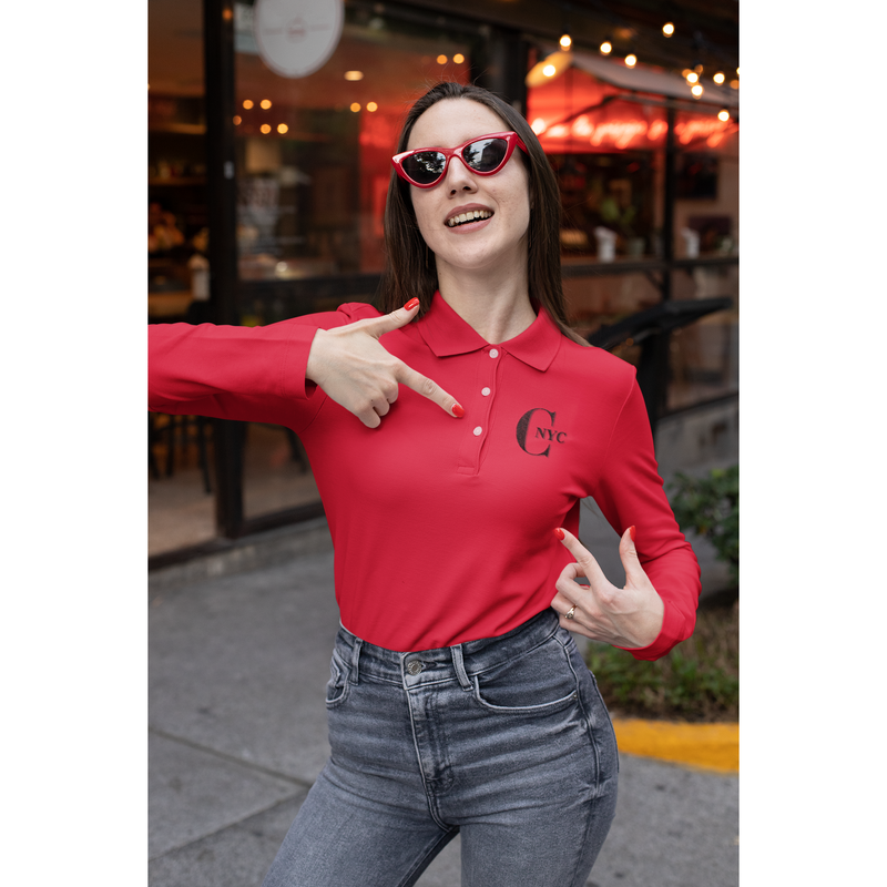 C-NYC Red Long Sleeve Polo