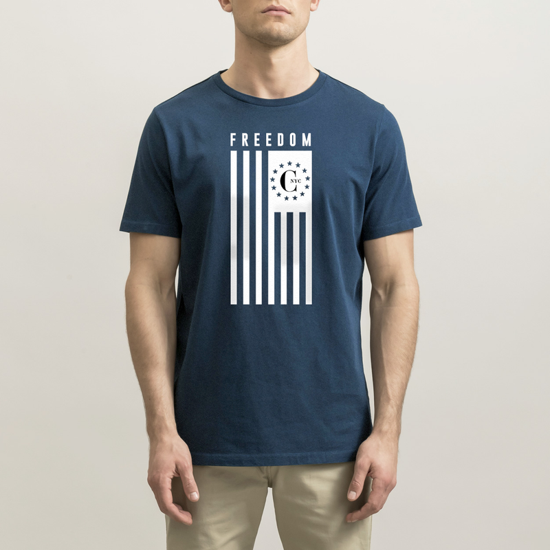 Navy Freedom USA Flag T-Shirt