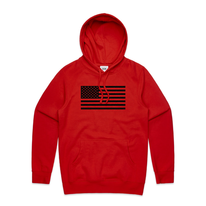 Red Basic Hoodie with USA Flag