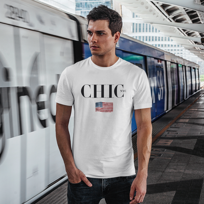 CHIC NYC MAN White Classic T-Shirt with Country Flags