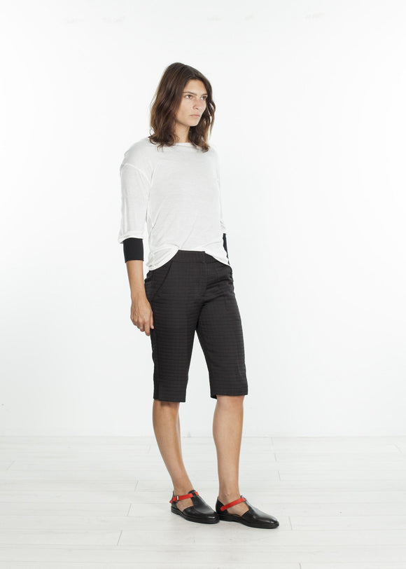 Square Stitch Knee Short in Black