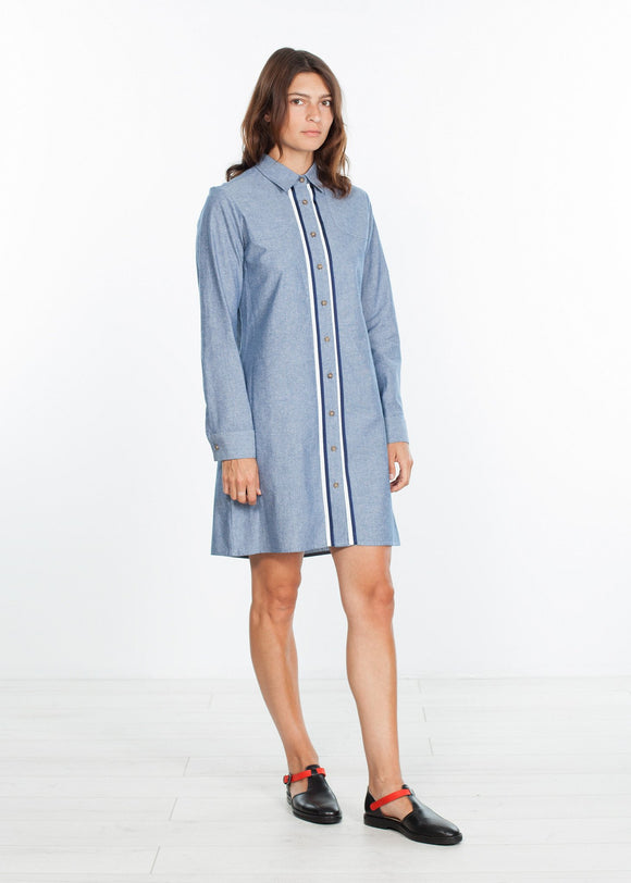Chambray Shirtdress in Blue