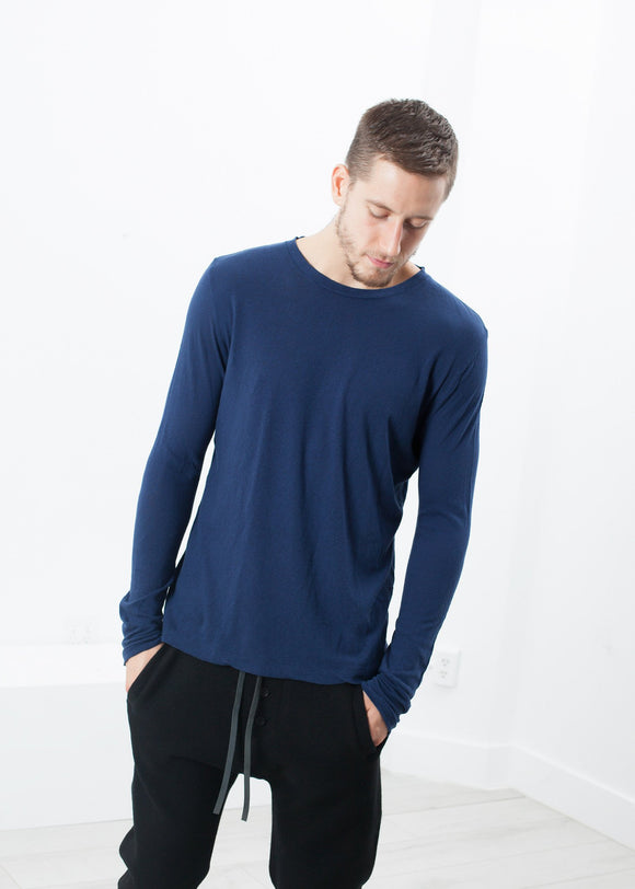 Cashmere Jersey Long Sleeve Tee in Navy