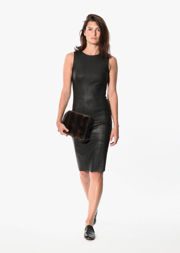 Iranta Leather Dress in Black