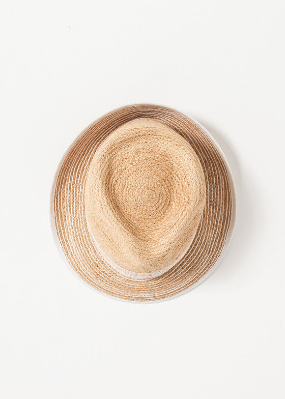 Washboard Hat in Straw/White