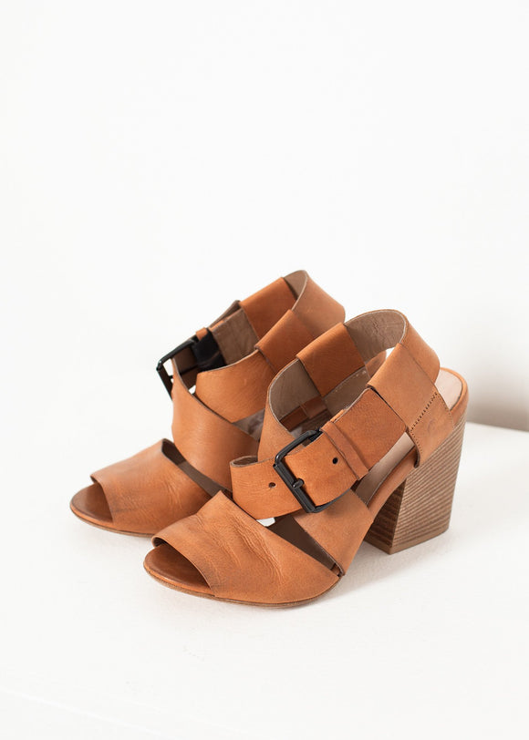 Buckle Strap Heel in Brown