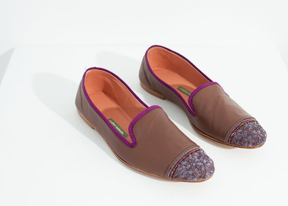 Bizi Cap Toe Loafer in Rose/Aubergine