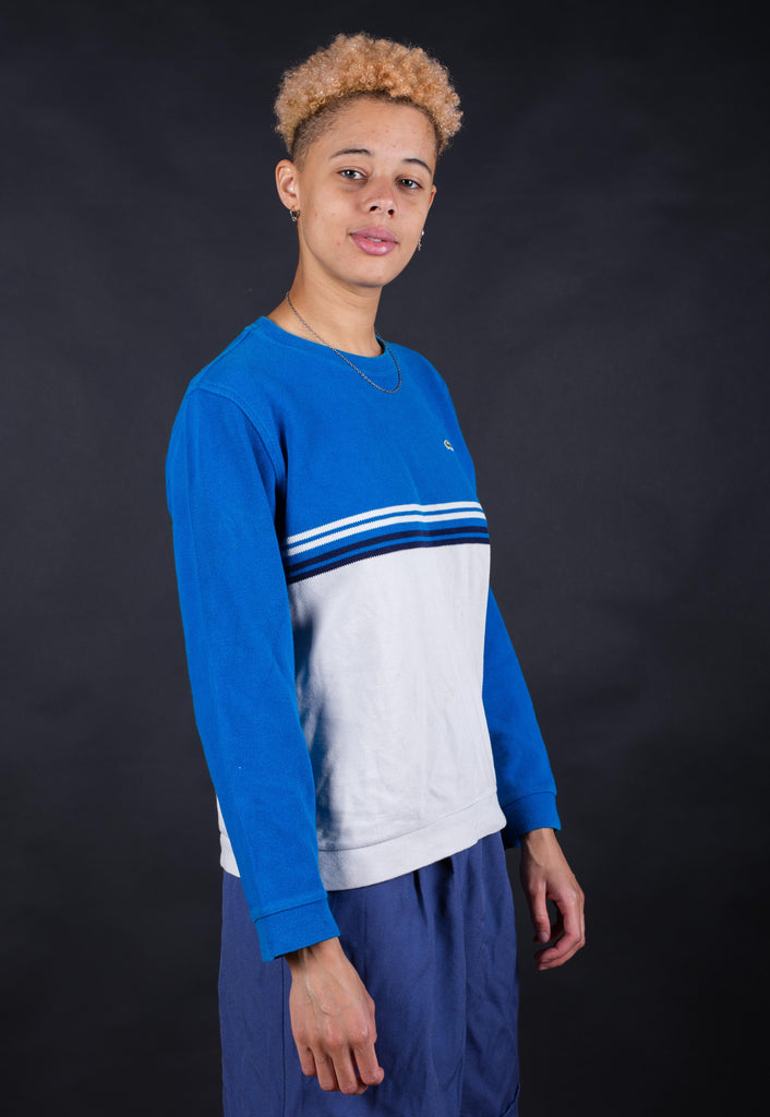 80's Lacoste Blue & White Striped Minimal Sweatshirt