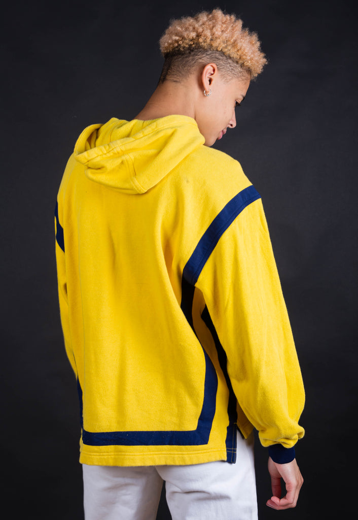 90's Adidas Yellow Big Logo Spell Out Hoodie