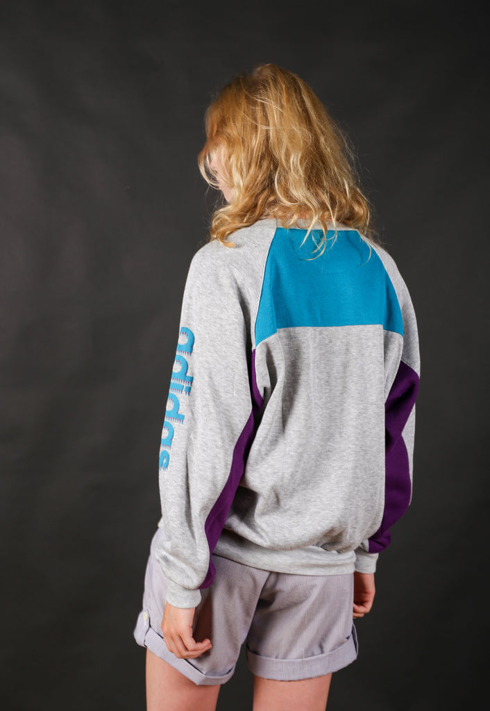 80's Adidas Grey & Blue & Purple Colour Block Spell Out Sweatshirt