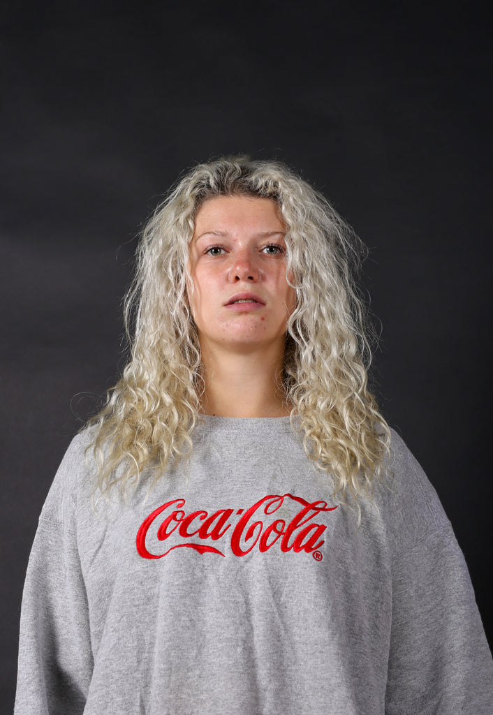 90's Coca Cola Grey Spell Out USA Sweatshirt