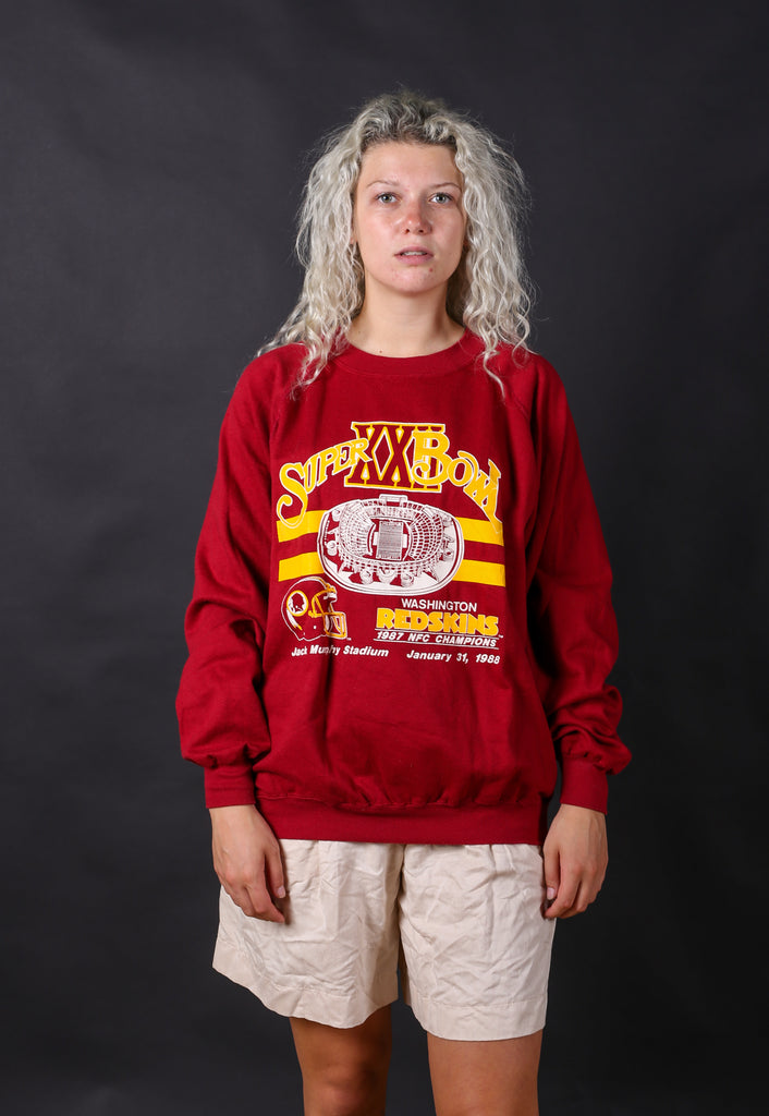 90's USA Red Red Skins Super Bowl Sweatshirt