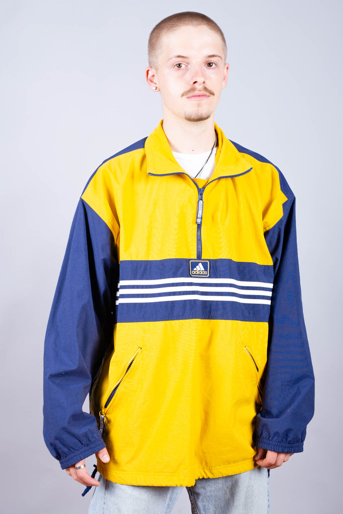 90's Adidas Yellow & Blue Embroidered Pull Over Jacket