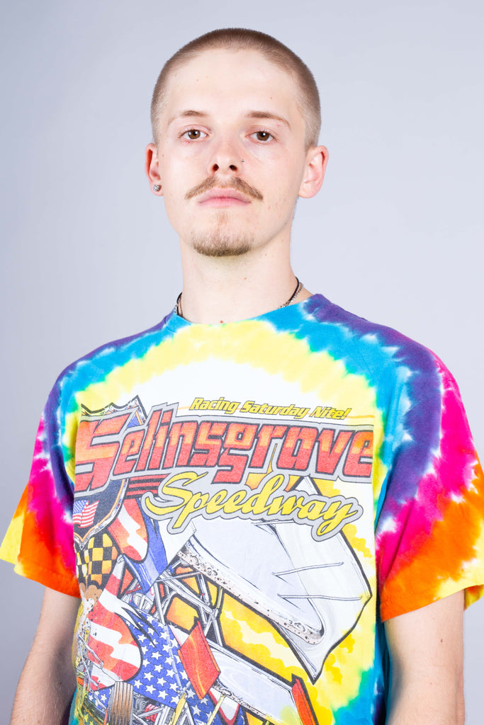 90's Nascar Multi Colour Graphic Print Tie Dye T-Shirt