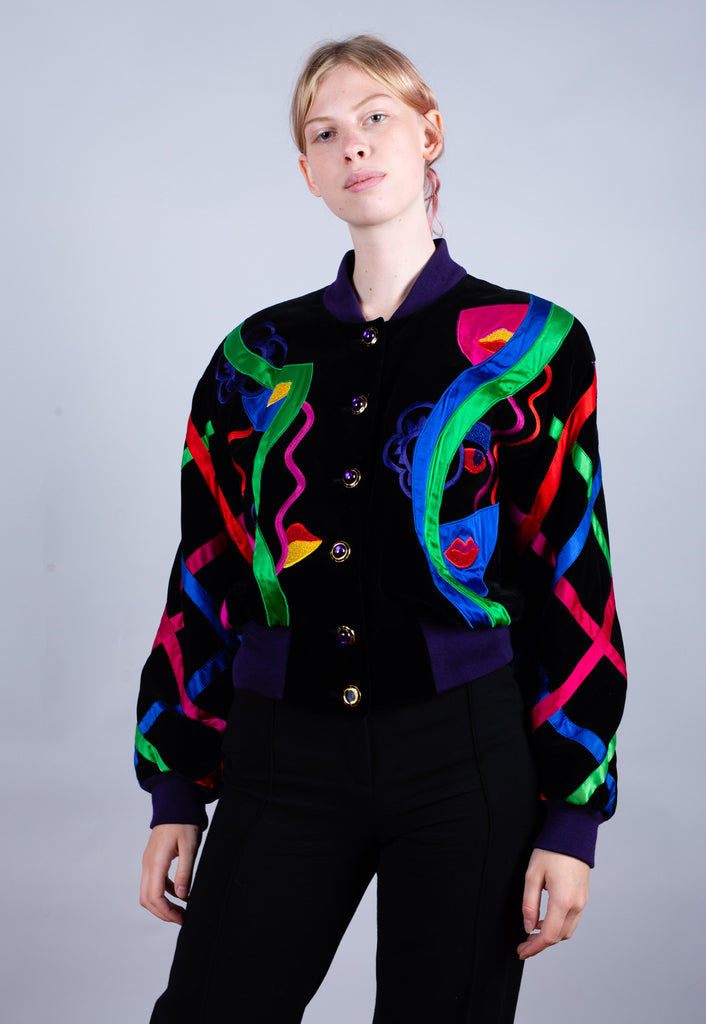 90's Escada Multi Colour Embroidered All Over Print Bomber Jacket