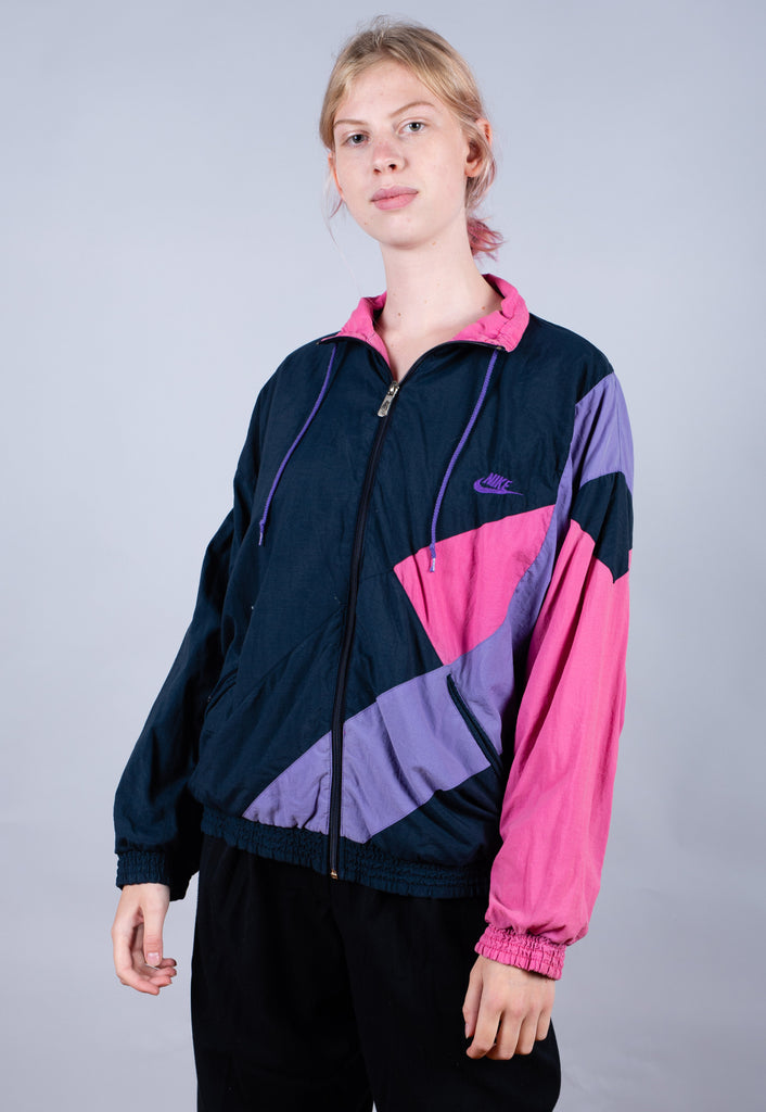 Early 80's Nike Black Pink Embroidered Big Logo Track Jacket