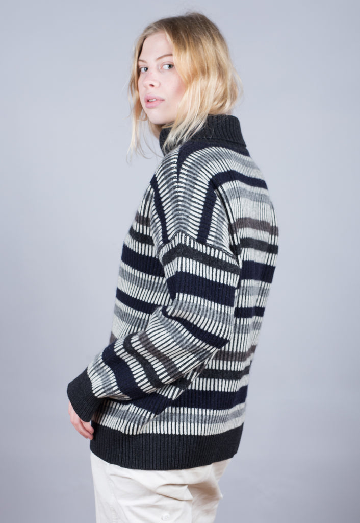 90's JOOP Black White Striped Turtle Neck Jumper