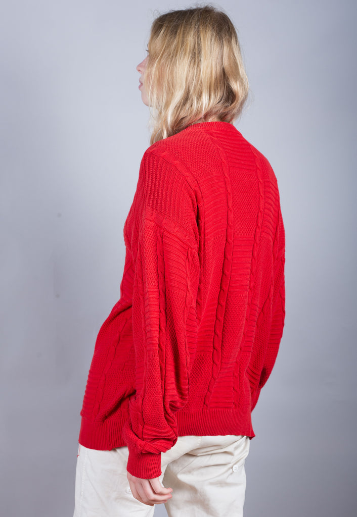 80's Lacoste Red Textured Pattern Jumper