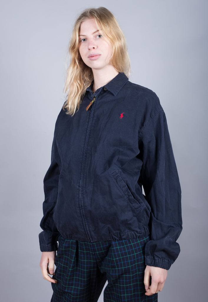 90's Polo by Ralph Lauren Blue Embroidered Harrington Jacket