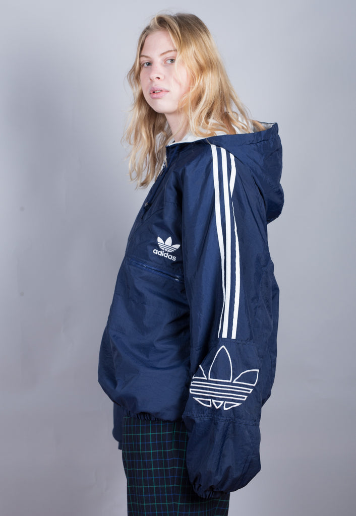 90's Adidas Blue Embroidered Puffer Jacket