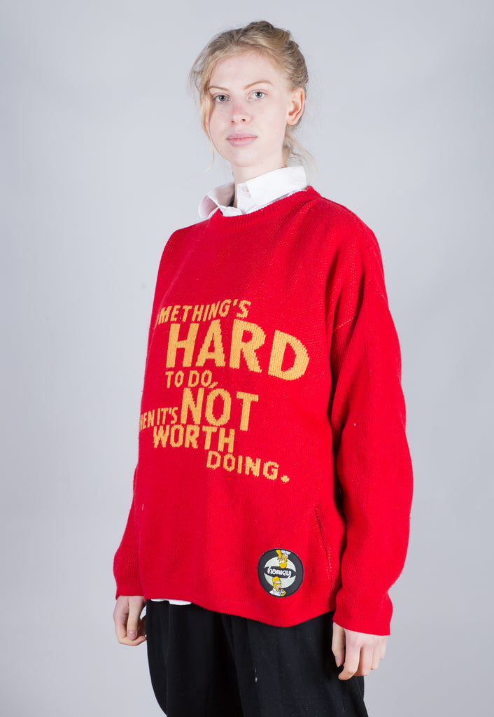 90's Simpsons Red Textured Spell Out Jumper