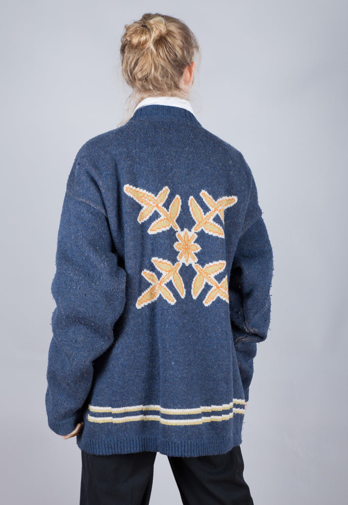 90's Oxbow Blue Surfing Textured Jumper